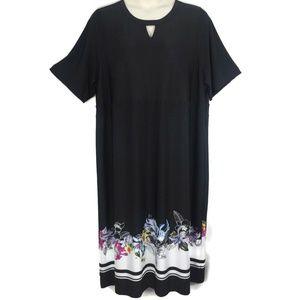 CJ Banks 3X Black Border Print Dress Keyhole